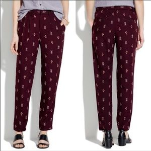 Madewell Delancey Burgundy Ikat Trousers Pants 0